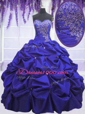 Artistic Navy Blue Sleeveless Taffeta Lace Up Quinceanera Gowns for Military Ball and Sweet 16 and Quinceanera