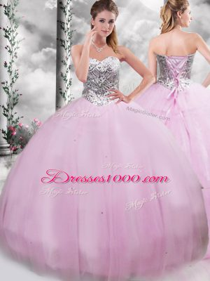Lilac Quinceanera Gown Military Ball and Sweet 16 and Quinceanera with Beading Sweetheart Sleeveless Brush Train Lace Up