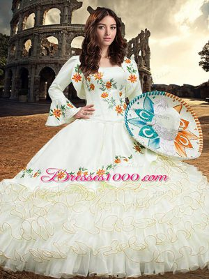 Dazzling Square Long Sleeves Quinceanera Gowns Floor Length Embroidery and Ruffled Layers White Organza