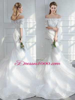 Gorgeous White Lace Up Bridal Gown Lace and Appliques Half Sleeves Court Train