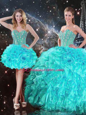 Fashionable Aqua Blue Ball Gowns Beading and Ruffles 15th Birthday Dress Lace Up Organza Sleeveless Floor Length