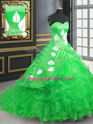 Elegant Green Lace Up Quinceanera Dresses Embroidery and Ruffles Sleeveless Brush Train