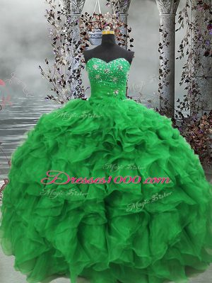 Green Ball Gowns Organza Sweetheart Sleeveless Beading and Ruffles Floor Length Lace Up Quinceanera Gowns