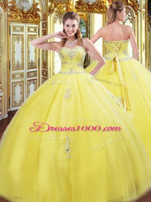 Yellow Tulle Lace Up Sweetheart Sleeveless Floor Length Quinceanera Gowns Beading and Appliques