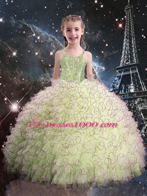 Olive Green Little Girl Pageant Dress Quinceanera and Wedding Party with Beading and Ruffles Straps Sleeveless Lace Up