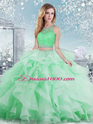 Custom Fit Ball Gowns 15 Quinceanera Dress Apple Green Scoop Organza Sleeveless Floor Length Clasp Handle