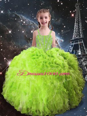 Custom Design Organza Sleeveless Floor Length Little Girls Pageant Dress and Beading and Ruffles
