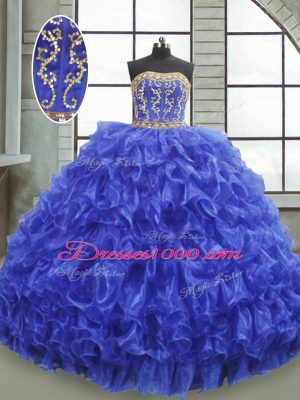 Royal Blue Organza Lace Up Quince Ball Gowns Sleeveless Floor Length Beading and Appliques and Ruffles