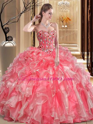 Custom Made Organza Sleeveless Floor Length Quinceanera Gown and Embroidery and Ruffles