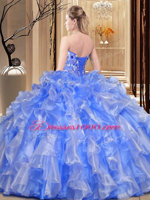 a455732177f Custom Made Organza Sleeveless Floor Length Quinceanera Gown and Embroidery  and Ruffles