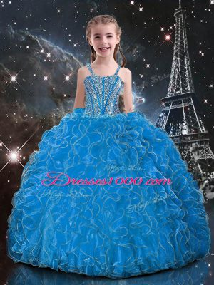 Glorious Floor Length Lace Up Little Girl Pageant Dress Baby Blue for Quinceanera and Wedding Party with Beading and Ruffles