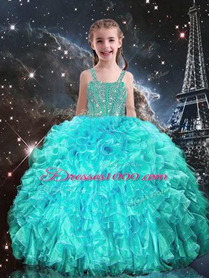 Organza Straps Sleeveless Lace Up Beading and Ruffles Kids Formal Wear in Aqua Blue