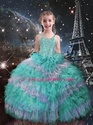 Latest Turquoise Straps Neckline Beading and Ruffled Layers Girls Pageant Dresses Sleeveless Lace Up