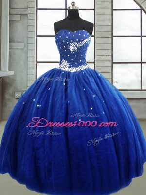 Adorable Floor Length Royal Blue Sweet 16 Quinceanera Dress Strapless Sleeveless Lace Up