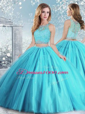 Custom Designed Ball Gowns Vestidos de Quinceanera Aqua Blue Scoop Tulle Sleeveless Floor Length Clasp Handle
