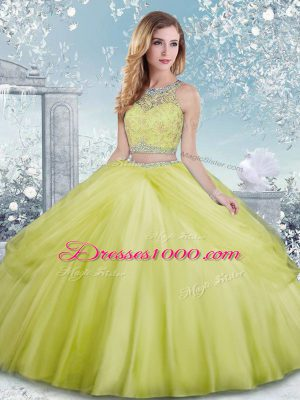 Dynamic Yellow Green Tulle Clasp Handle Scoop Sleeveless Floor Length Quinceanera Dress Beading
