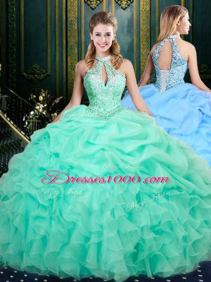 Halter Top Sleeveless Organza Quinceanera Dress Beading and Ruffles and Pick Ups Lace Up