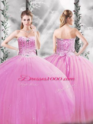 Top Selling Lilac Sweetheart Lace Up Beading 15th Birthday Dress Sleeveless