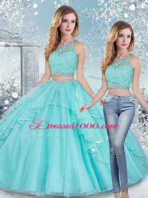 Graceful Aqua Blue Two Pieces Scoop Sleeveless Tulle Floor Length Clasp Handle Beading and Lace and Sashes ribbons Quinceanera Dresses
