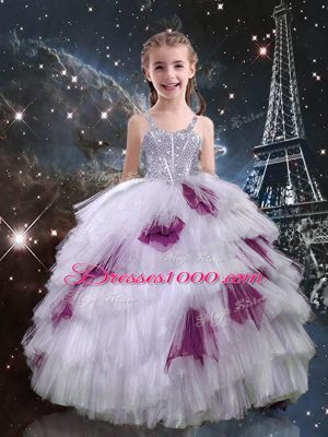 Sleeveless Floor Length Beading and Ruffled Layers Lace Up Pageant Gowns For Girls with White
