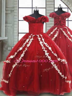 Lace Up Little Girl Pageant Dress Wine Red for Quinceanera and Wedding Party with Appliques Brush Train