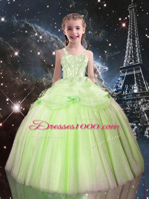Yellow Green Tulle Lace Up Straps Sleeveless Floor Length Girls Pageant Dresses Beading