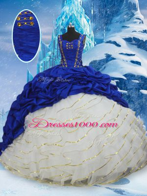 Hot Selling Blue And White Straps Lace Up Ruffled Layers and Pick Ups Ball Gown Prom Dress Brush Train Sleeveless