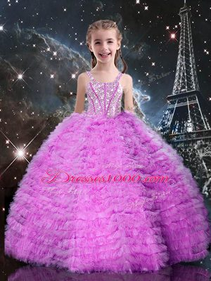 Trendy Lilac Tulle Lace Up Little Girls Pageant Dress Wholesale Sleeveless Floor Length Beading and Ruffled Layers