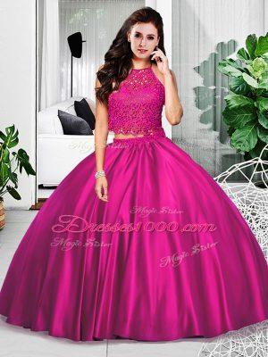 Fuchsia Zipper Halter Top Lace and Ruching Sweet 16 Quinceanera Dress Taffeta Sleeveless