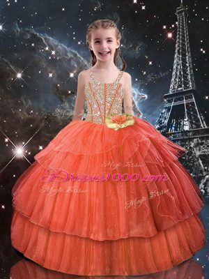 Orange Red Ball Gowns Straps Short Sleeves Tulle Floor Length Lace Up Beading and Ruffled Layers Pageant Gowns For Girls