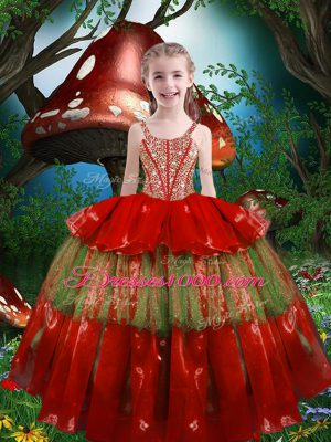 Fashion Straps Sleeveless Little Girls Pageant Dress Floor Length Beading and Ruffled Layers Red Organza