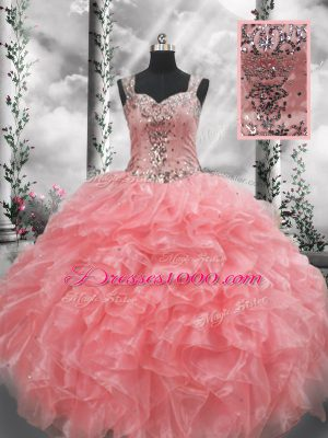 New Style Straps Sleeveless Quinceanera Dress Floor Length Beading and Ruffles Watermelon Red Organza
