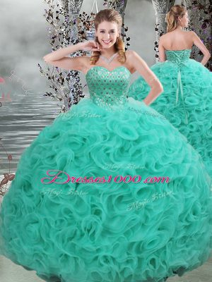 Sexy Turquoise Sleeveless Fabric With Rolling Flowers Brush Train Lace Up Quinceanera Gown for Military Ball and Sweet 16 and Quinceanera
