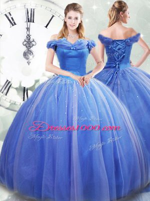 Dramatic Light Blue Sleeveless Tulle Brush Train Lace Up Quinceanera Dress for Military Ball and Sweet 16 and Quinceanera