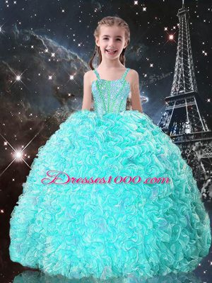 Cheap Turquoise Sleeveless Beading and Ruffles Floor Length Little Girls Pageant Dress