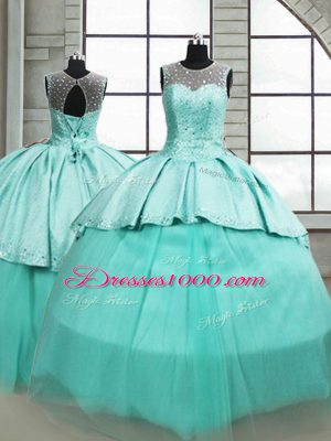 Gorgeous Turquoise Tulle Lace Up Scoop Sleeveless 15 Quinceanera Dress Brush Train Beading