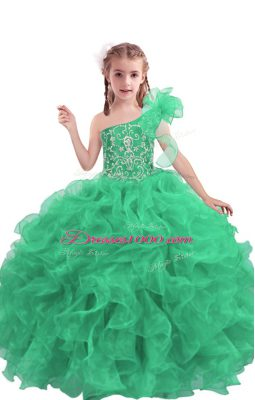 Nice Apple Green Sleeveless Organza Lace Up Girls Pageant Dresses for Quinceanera and Wedding Party