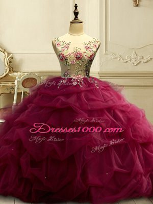 Burgundy Scoop Neckline Appliques and Ruffles and Sequins Sweet 16 Quinceanera Dress Sleeveless Lace Up