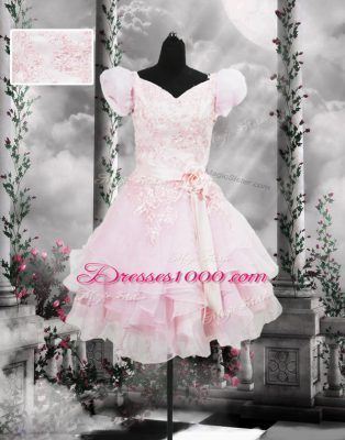Lovely V-neck Short Sleeves Dress for Prom Knee Length Beading and Appliques and Ruffles and Hand Made Flower Baby Pink Organza
