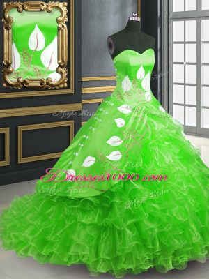 Glittering Sweetheart Sleeveless Quinceanera Dress Brush Train Embroidery Green Organza