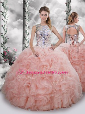 Sleeveless Floor Length Beading and Ruffles Lace Up Quince Ball Gowns with Baby Pink