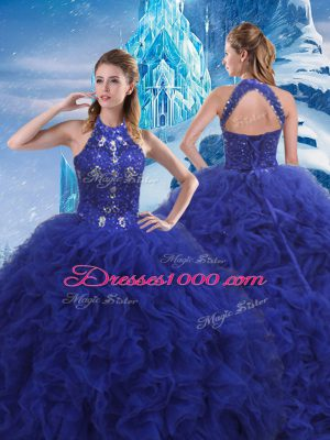 Deluxe Sleeveless Beading and Ruffles Lace Up 15th Birthday Dress with Blue Brush Train