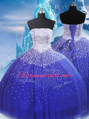 Colorful Floor Length Blue Sweet 16 Dresses Strapless Sleeveless Lace Up