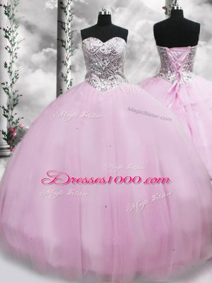 Designer Sleeveless Tulle Brush Train Lace Up Quinceanera Dresses in Lilac with Beading