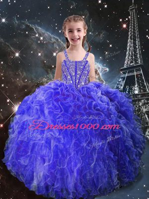 Superior Eggplant Purple Ball Gowns Beading and Ruffles Little Girl Pageant Gowns Lace Up Organza Sleeveless Floor Length