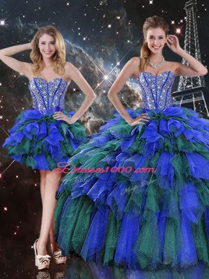 Multi-color Lace Up Quince Ball Gowns Beading and Ruffles and Ruffled Layers Sleeveless Floor Length