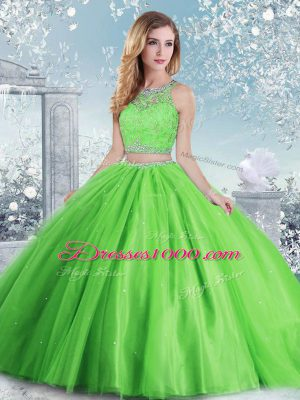 Sleeveless Clasp Handle Floor Length Beading and Sequins Quinceanera Dress