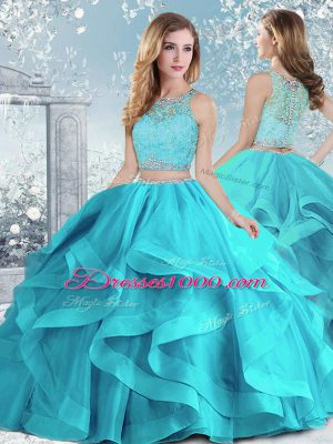 Aqua Blue Ball Gowns Organza Scoop Sleeveless Beading and Ruffles Floor Length Clasp Handle 15th Birthday Dress