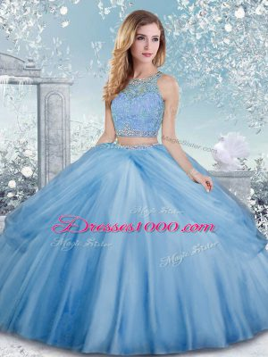 Tulle Scoop Sleeveless Clasp Handle Beading Quinceanera Gown in Baby Blue