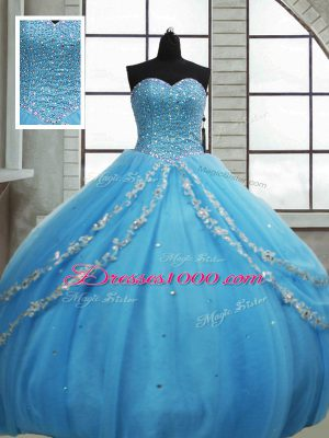 Captivating Baby Blue Ball Gowns Tulle Sweetheart Sleeveless Beading and Appliques and Sequins Floor Length Lace Up Quinceanera Gowns